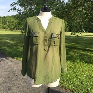 Pat Rego Green Studded Button Vneck Shirt 1X